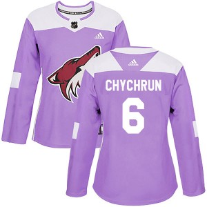 Jakob Chychrun Women's Adidas Arizona Coyotes Authentic Purple Fights Cancer Practice Jersey